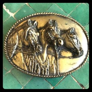 Fabulous large 3 horses brass belt buckle by LIMES